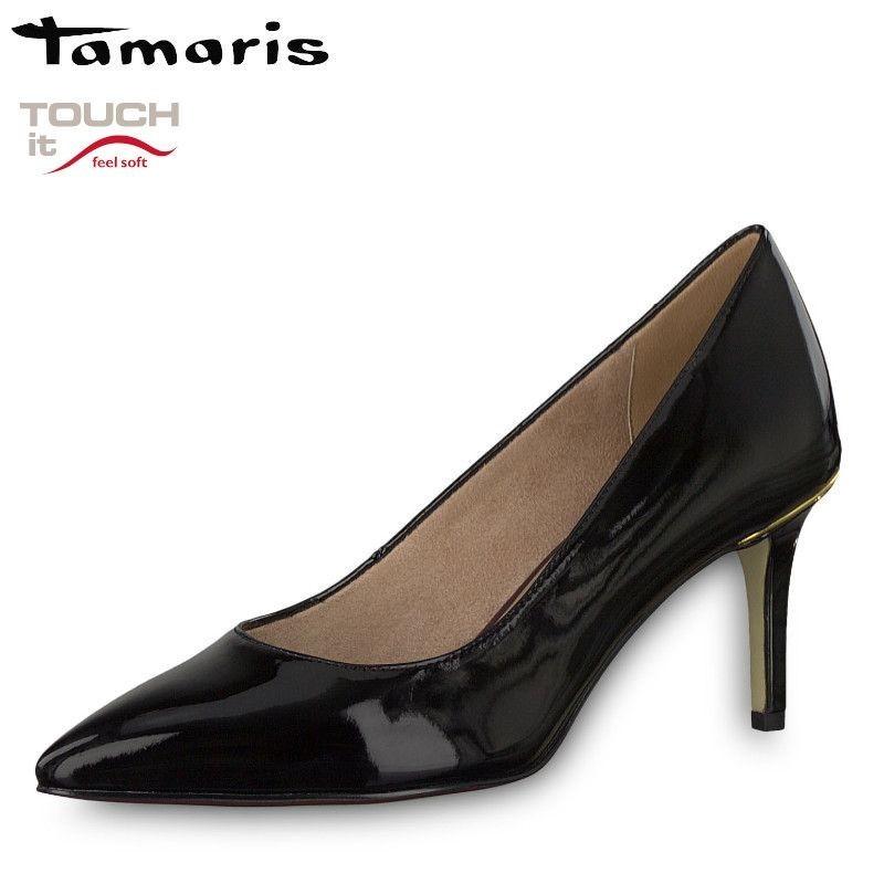 Tamaris fekete lakk magassarkú cipő