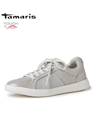 Tamaris ezüst bőr cipő