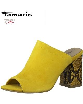 Tamaris sárga bőr papucs