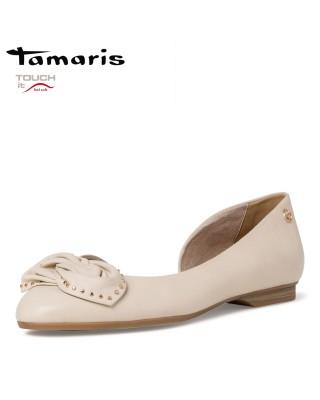 Tamaris krém színű bőr cipő