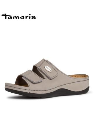 Tamaris szürke bőr biopapucs
