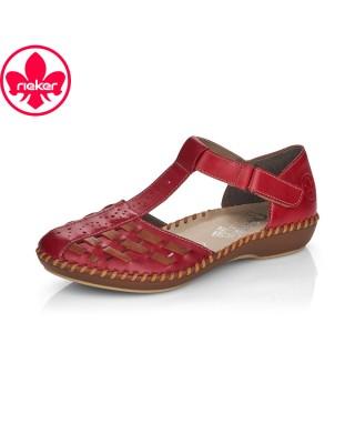 Rieker piros nyitott cipő
