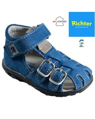 Richter kék bőr zárt szandál