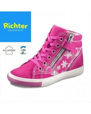 Richter rózsaszín virágos magasszárú cipő
