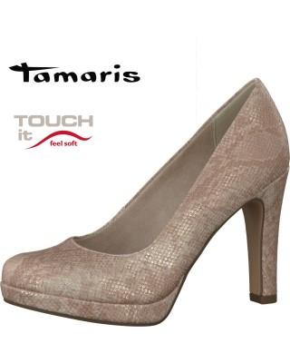 Tamaris bézs színű magassarkú cipő
