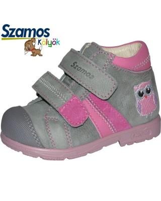 Szamos kölyök SUPINÁLT szürke-rózsaszín kiscipő