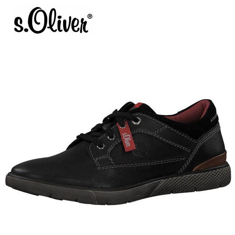 S.Oliver fekete bőr férfi félcipő