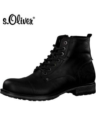 S.Oliver fekete bőr bakancs