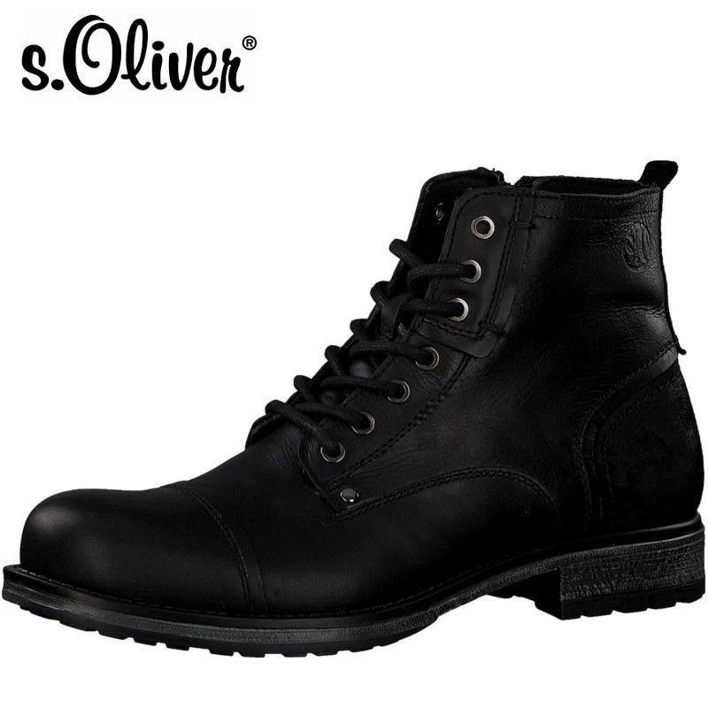 S.Oliver fekete bőr bakancs - Vitálos cipőbolt Szentendre 288b9ef043