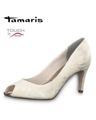 Tamaris krém színű magassarkú cipő