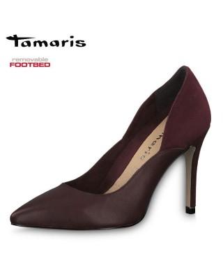 Tamaris bordó bőr magassarkú cipő