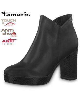 Tamaris fekete magassarkú bokacsizma